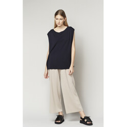 Linen Mixed Knit Top With Folded Sides - Navy