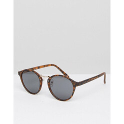 Round Sunglasses With Metal Nose In Tort