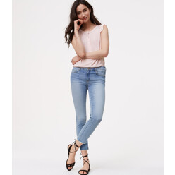 Modern Frayed Skinny Crop Jeans In Authentic Light