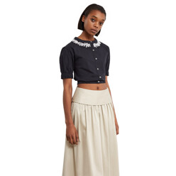 Embroidered Cropped Button-Down