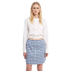 Cropped Long-Sleeve Button-Down