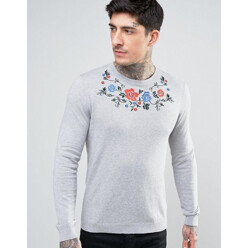 Knitted Jumper With Floral Embroidery