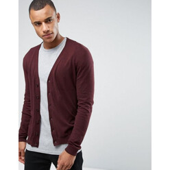 Knitted Cotton Cardigan In Brown