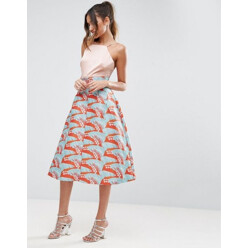 Prom Skirt With Tropical Jacquard Print