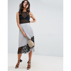 Pleated Midi Skirt With Lace Insert