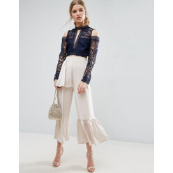 Wide Leg Trousers With Woven Ruffle Waist