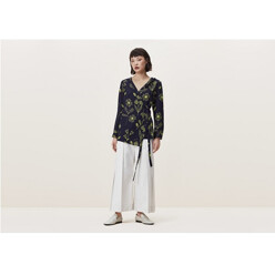 Batley Wrap Top In Floral Squiggle Print