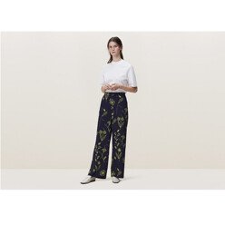 Belgrade Wide Leg Trousers In Floral Squiggle Prin