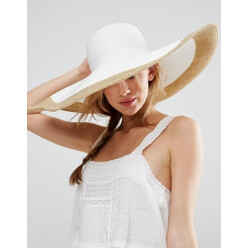 Oversized Straw Floppy Hat With Rose Gold Metallic
