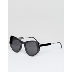 Angular Cat Eye Sunglasses In Black With Flat Lens
