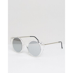 Clear Cat Eye Round Sunglasses With Mirror Lens
