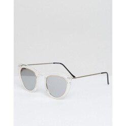 Cat Eye Sunglasses In Clear With Silver Mirror Len