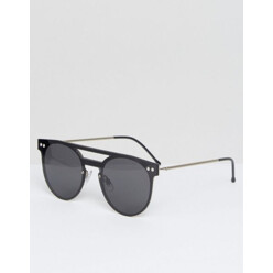 Flat Top Round Sunglasses In Black