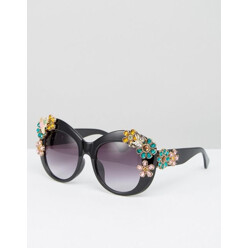 Oversized Sunglasses With 3d Flowers
