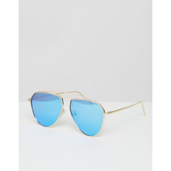 Tear Drop Aviator Sunglasses With Blue Mirror Lens