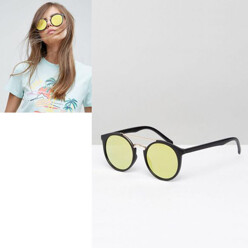 Flat Lens Round Sunglasses With Metal Nose Bridge