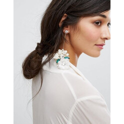 Flower And Pearl Statement Earrings