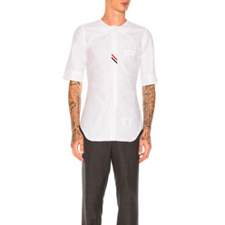 Collarless Short Sleeve Oxford