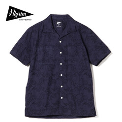 Vincent Ss Embroidered Camp Shirt, Navy