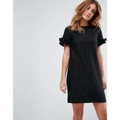 Textured Shift Dress With Puff Ball Sleeve