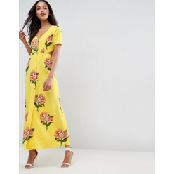 Maxi Tea Dress With Open Back In Floral Print