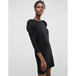 Crepe Mini Dress With Puff Sleeves