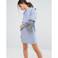 Shift Dress In Chambray With Gingham Sleeve