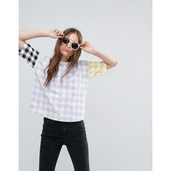 T-Shirt With Blocked Gingham