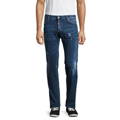 Distressed And Whiskered Denim Pants