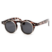 Inventor Round Vintage Clear Lens Flip Up Sunglass
