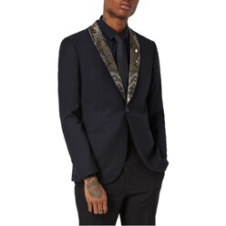 Skinny Fit Tuxedo Jacket With Paisley Shawl Lapel
