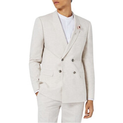 Skinny Fit Double Breasted Marled Suit Jacket