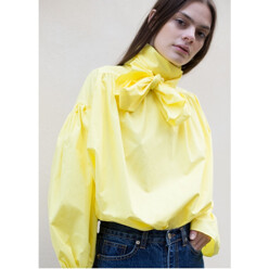 Yellow Peasant Belted Blouse
