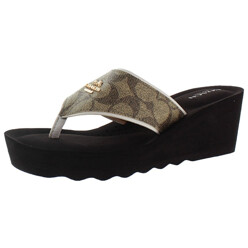 Janice  Thong Wedge Leather Sandals Signatu