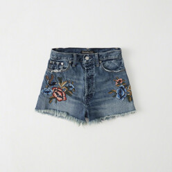 Embroidered High-Rise Shorts