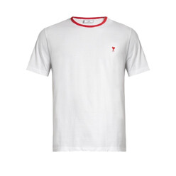 Contrast-Neck Cotton-Jersey T-Shirt