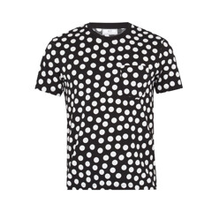 Polka-Dot Print Crew-Neck Cotton T-Shirt