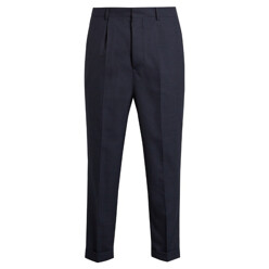 High-Waisted Turn-Up Cropped Wool Trousers
