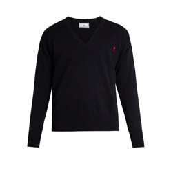 Logo-Embroidered V-Neck Wool Sweater