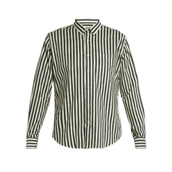 Point-Collar Striped Twill Shirt