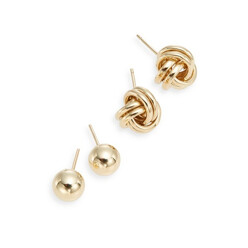 14k Yellow Gold Ball And Knot Stud Earring Set