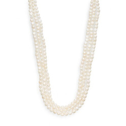 8-9mm White Baroque Cultured Pearl Strand Necklace