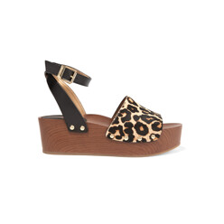 Brynn Leopard-Print Calf Hair And Leather Wedge Sa