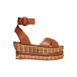 Violette Woven And Leather Platform Sandals