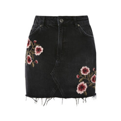 Moto Blossom Embroidered Denim Skirt