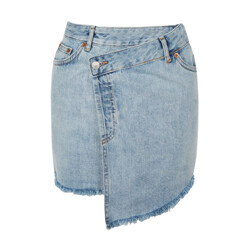 Moto Wrap Denim Skirt