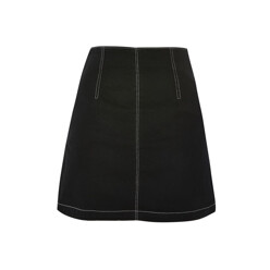 Moto Contrast Stitch A-Line Denim Skirt