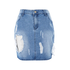 **Shredded Denim Mini Skirt By Glamorous
