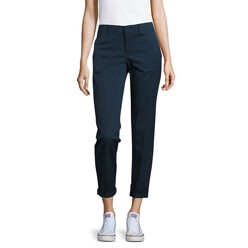 Solid High-Waisted Boyfriend Trousers