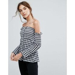 Off-Shoulder Long Sleeve Top With Shirring In Ging